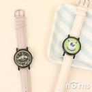 日貨sunflame手錶WD-H03 淺色錶帶- Norns 日本J-AXIS 迪士尼 復古皮質腕錶 三眼怪