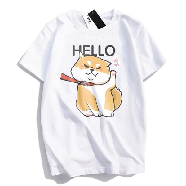 情侶裝  情侶T 純棉短T MIT台灣製 短袖t恤【YC686-17】萌寵-HELLO 你好 柴犬 犬控 班服 團體服