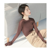 針織衫 螺紋 貼身 開衩 前短後長 下襬 針織衫 短版 長袖 上衣【HM00002】  icoca