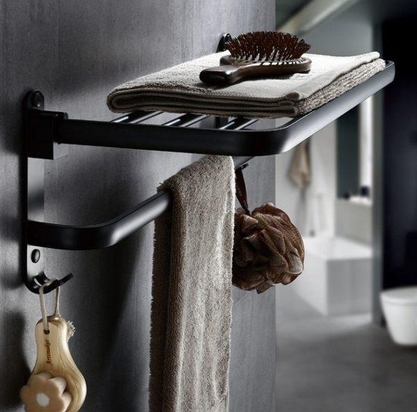 黑潮流【免釘牆】太空鋁單層帶鈎毛巾架精品衛浴 歐式浴室架黑時尚(60公分)