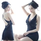 性感睡衣女夏情趣吊帶睡衣蕾絲透明火辣薄紗短睡裙