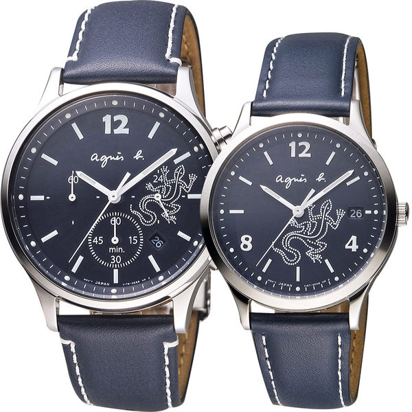 agnes b. 巴黎城市戀人對錶-藍/39mm V175-0DP0B+V157-0BR0B(BU8012P1+BZ7002P1)
