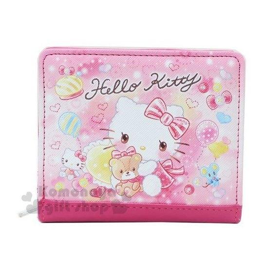 〔小禮堂〕Hello Kitty 皮質扣式拉鍊短夾《粉.水彩》皮包.皮夾.零錢包 4930972-47510