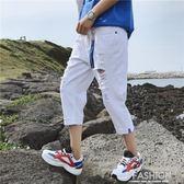 七分褲男破洞牛仔寬鬆闊腿夏季男生短褲韓版修身潮流直筒褲子-ifashion