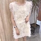 無袖洋裝 2020夏MC洋氣女韓版網紗背心性感洋裝超無袖網紅蕾絲仙女裙潮【快速出貨】