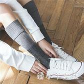 襪子 秋季復古粗線女中筒襪森系高筒襪及膝小腿襪保暖翻邊 df2384【潘小丫女鞋】
