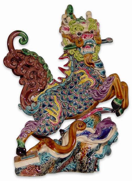 鹿港窯-居家開運商品-台灣國寶交趾陶~咬劍麒麟~龍馬/躍麒麟