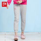 JJLKIDS 女童 甜美字母休閒運動褲(麻灰)
