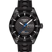 TISSOT 天梭 PRS516 系列時尚機械手錶-黑x橡膠錶帶/42mm T1004303720100