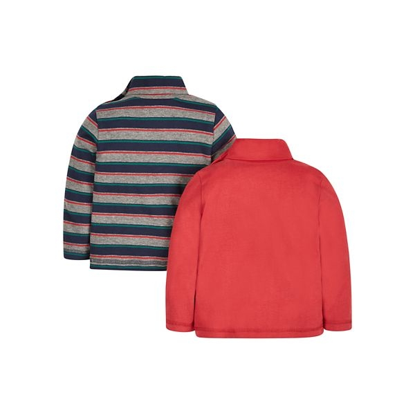 mothercare 秋冬男嬰2入長袖上衣-塗鴉樂趣-條紋&橘紅(M0JH499)09M~5A