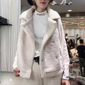 新款韓版大翻領羊羔毛馬甲加厚皮毛一體無袖鹿皮絨馬夾外套女 黛尼時尚精品