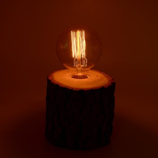 芬多森林 台灣樟木情境燈(小),復古愛迪生燈泡專用燈座,實木氣氛情境鎢絲夜燈,原木燈飾