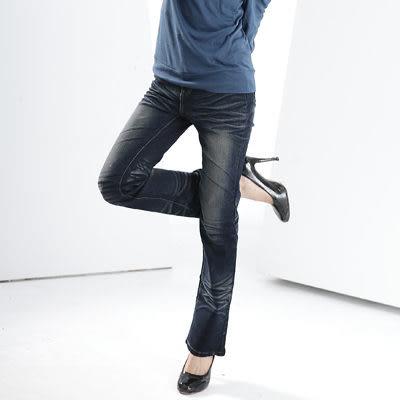 牛仔褲--完美閃耀甜蜜感造型拉鍊鬼爪深藍刷色中腰小喇叭牛仔褲(S-7L)-N20眼圈熊中大尺碼◎