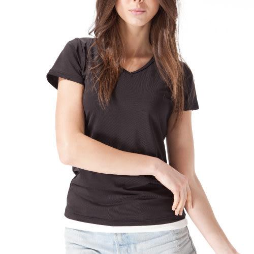 《MORINO》機能休閒抗UV速乾女短袖衫-黑色