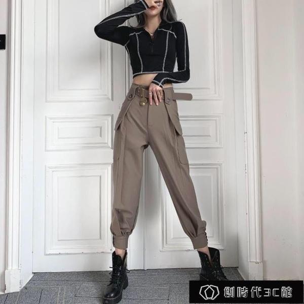 2021春夏新款工裝褲女九分褲韓版學生寬松顯瘦薄款束【全館免運】