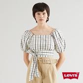 Levis 女款 短袖T恤 / 短版澎澎袖 / 蝴蝶結綁帶細節 / 英倫格紋