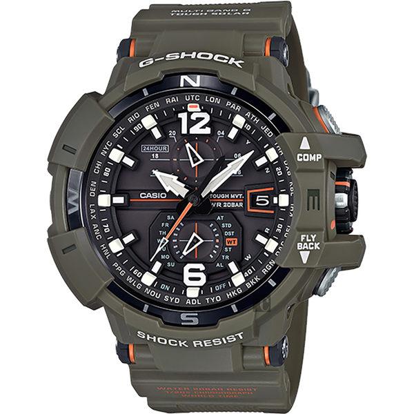 【CASIO】卡西歐 G-SHOCK MASTER 飛行員太陽能電波手錶-橄欖綠 GW-A1100KH-3A
