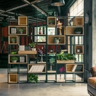 置物架 LOFT工業風辦公室鐵藝書架落地 北歐滿墻實木書柜定制金屬置物架 宜品