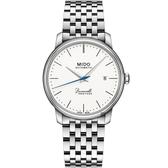 MIDO美度 Baroncelli 永恆系列復刻超薄機械錶-白x銀/39mm M0274071101000