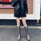 雨靴 防水鞋膠鞋水靴時尚款外女成人潮短筒時尚女士防滑啞光雨鞋長款高筒橡膠女鞋雨靴-免運