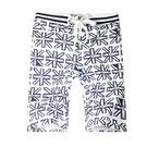 英式風格印花設計彈力短褲.海灘褲...