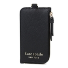 美國正品 KATE SPADE 立體LOGO防刮皮革識別證掛帶票卡夾-黑色【現貨】