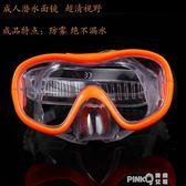 橡膠潛水游泳鏡男女兒童護鼻游泳眼鏡大視野泳鏡游泳眼鏡 【PINK Q】