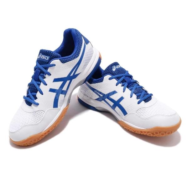 Asics 排羽球鞋 Gel-Rocket 8 白 藍 膠底 運動鞋 排球 羽球 男鞋【ACS】 B706Y124