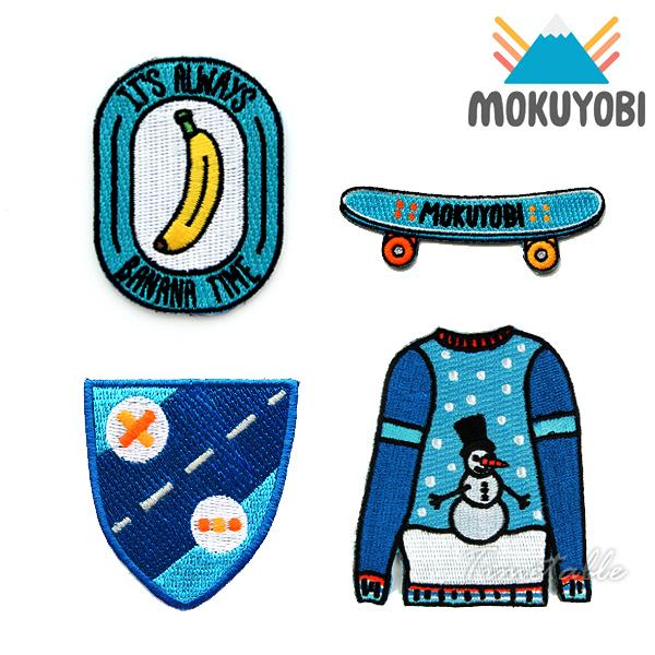 MOKUYOBI / Iron On Patches / L.A 空運特色創意熨燙補丁徽章 - BANANA x SKATEBOARD x BLUE SHIELD x WINTER SWEATER