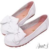 Ann'S甜美造型-可愛大蝴蝶結牛皮平底娃娃鞋-白