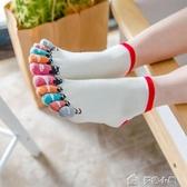 五指襪小貓抓魚純棉短筒五指襪子春夏卡通點塑全棉吸汗低幫襪子5雙