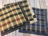 【京之物語】日本製DAKS經典格紋男性絲巾手帕-藍色/灰色/卡其色
