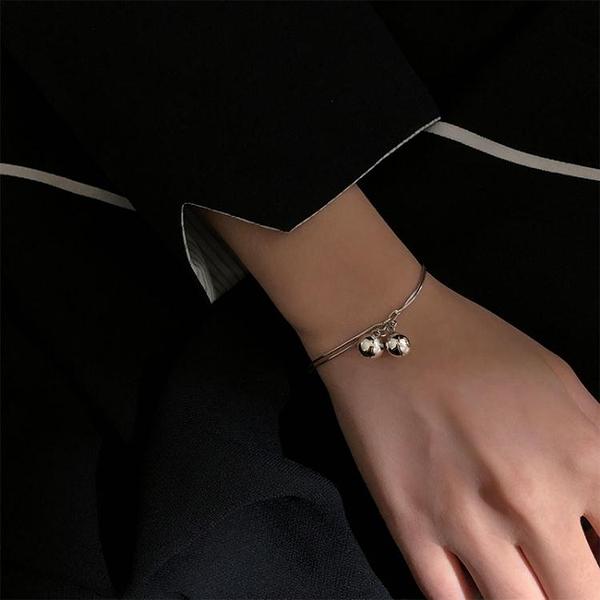 s925純銀雙層鈴鐺手鍊女韓版學生簡約個性小眾設計甜美小清新 淇朵市集