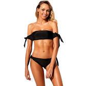 泳裝 比基尼 泳衣 素色 平口 背釦 綁帶 三角 兩件套 泳裝 S-XL【LC410545】 BOBI  07/12
