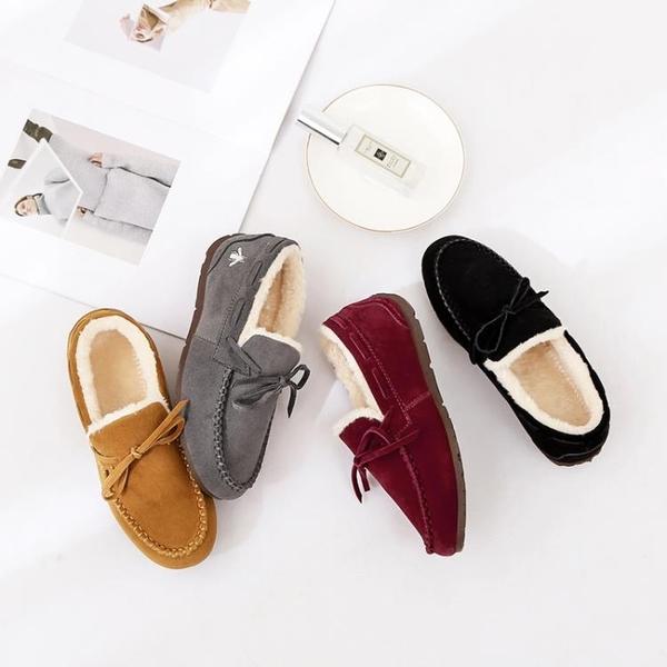 加絨豆豆鞋女冬季保暖棉鞋一腳蹬平底懶人鞋