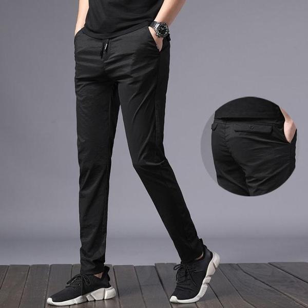 休閒裤 男士休閒褲夏季冰絲薄款夏天工作褲子男寬鬆鬆緊腰運動褲百搭長褲
