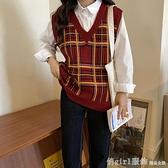 馬甲 港風針織春秋季2020新款女韓版馬甲背心網紅外穿格子衫寬鬆百搭潮 開春特惠