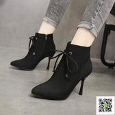 短靴 鞋子女新款網紅女鞋馬丁靴彈力瘦瘦靴百搭尖頭高跟靴細跟短靴 歐歐流行館