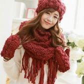 圍巾+毛帽+手套羊毛三件套-純手工針織雙層加絨防寒配件組合2色71an16[巴黎精品]