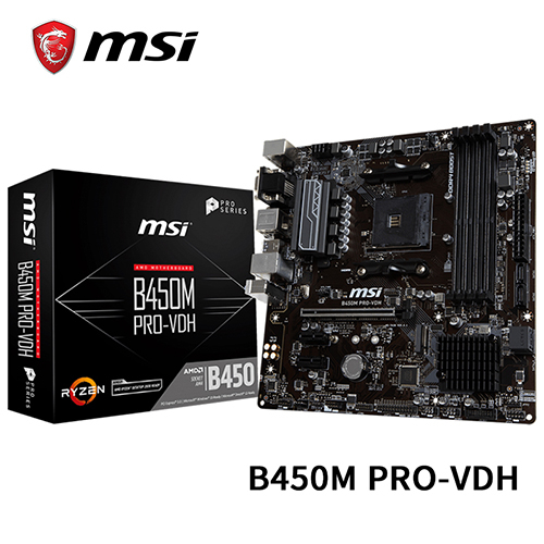 MSI 微星 B450M PRO-VDH M-ATX AM4 主機板