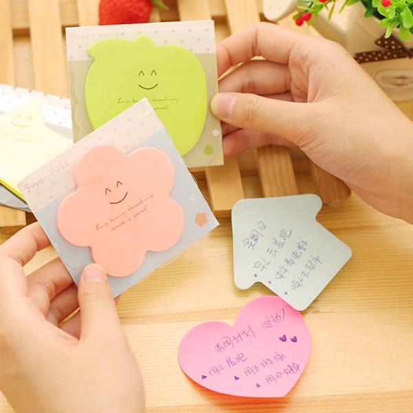 【BlueCat】SUPER NOTE花朵蘋果愛心形狀素色便利貼 N次貼