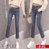 韓風高腰直筒九分牛仔褲 S-XL O-ker歐珂兒 160873