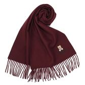 MOSCHINO 義大利製羊毛小熊圖騰字母LOGO刺繡圍巾(酒紅色)911001-010