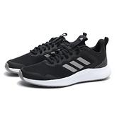 ADIDAS 慢跑鞋 FLUIDSTREET 黑白 網布 輕量 透氣 運動 女 (布魯克林) FW1714