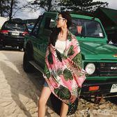 防曬絲巾女百搭圍巾薄款沙灘披肩超大泰國海灘紗巾「千千女鞋」