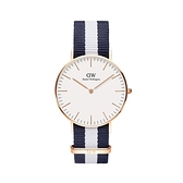 【Daniel Wellington】CLASSIC瑞典時尚品牌經典簡約尼龍腕錶-白藍x玫金-36mm/DW00100031/原廠兩年保固