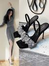 明星同款涼鞋女2021年夏季新款仙女風拖鞋水鉆細跟高跟鞋夏天涼拖
