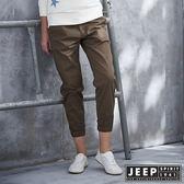 【JEEP】女裝 彈性抽繩七分束口褲 (卡其色)