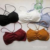 7新款韓版後背交叉美背抹胸帶胸墊防走光裹胸內衣 LVV5189【KIKIKOKO】