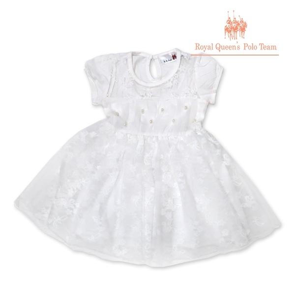 白色連身洋裝 畢業穿搭 花童小禮服 [95611] RQ POLO 春夏童裝 小童 5-17碼